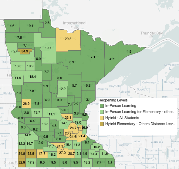 Minnesota School Re-Opening Status showing the current score for all counties