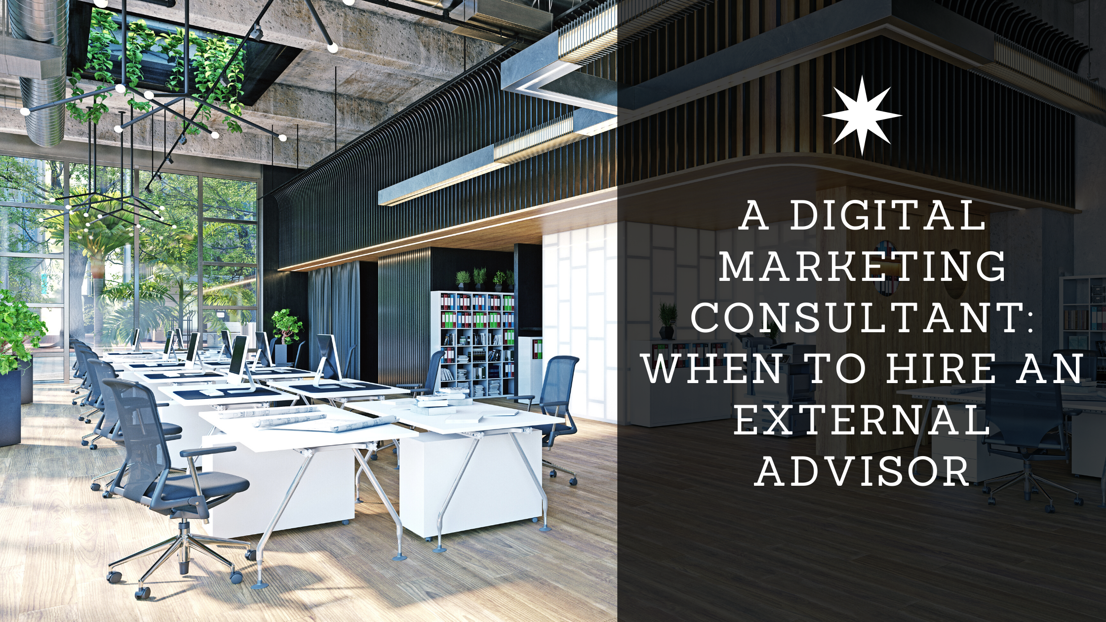 Open office with digital marketing title